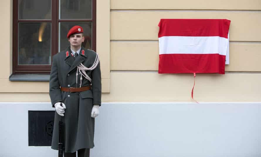 A soldier stands guard at an Austrian armed forces ceremony in Vienna in January.