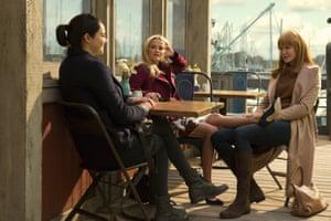 Big Little Lies scene shot of Reese Witherspoon, Nicole Kidman and Shailene Woodley.