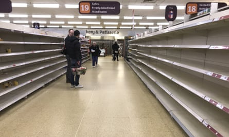 A UK supermarket pictured on March 19 amid the pea of coronavirus panic buying.
