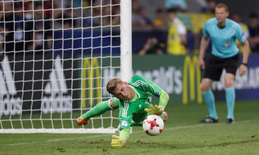 Germany's Jannik Pollersbeck saves England's fifth penalty, taken by Nathan Redmond, to win the shootout in the European Under-21 Championship semi-final.