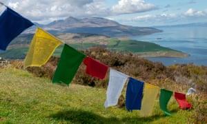 prayer flags over Holy Island, Inner Hebrides