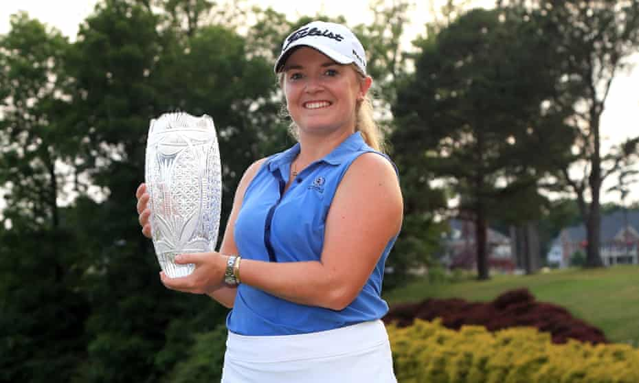 Bronte Law of England holds the Pure Silk Championship trophy after winning at the River Course in Williamsburg, Virginia, on Sunday.