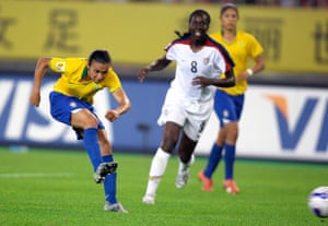 Marta fire's home her second goal, and Brazil's fourth, following a sublime piece of skill which bamboozled the USA's Tina Ellertson.