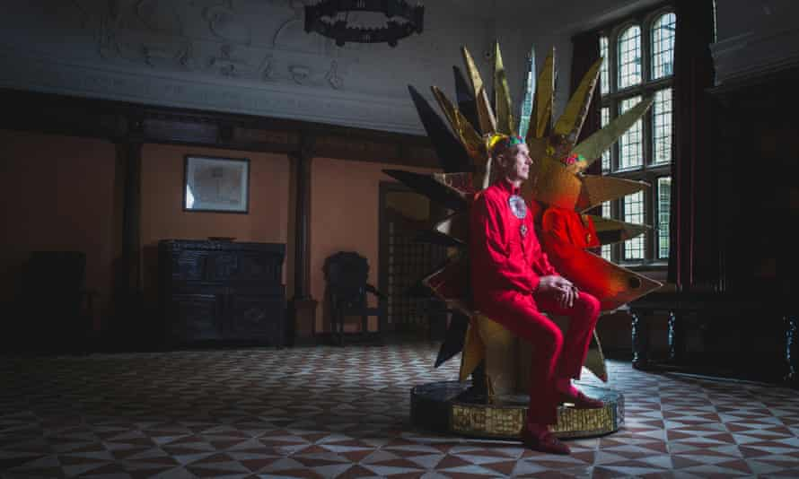 Andrew Logan with some of his work installed at Buckland Abbey in Devon, the former home of Sir Francis Drake.