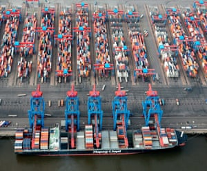 A container ship in the seaport of Hamburg, Germany. German exports grew by just 0.2% in July, driving the country's trade surplus lower