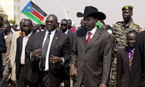 President Salva Kiir (right) and then-vice president Riek Machar at South Sudan's independence celebrations in 2011.