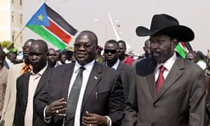 South Sudanese president Salva Kiir, right, with former vice-president Riek Machar, centre, in 2011.