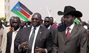 South Sudanese president Salva Kiir, right, with former vice-president Riek Machar, centre, in 2011.
