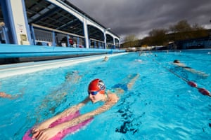 Hathersage, UK. The first swimmers take the plunge in the Derbyshire Peak District pool. People can now meet up legally outdoors in groups of six, or in two households, including in private gardens, and organised outdoor sport can resume