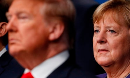 Angela Merkel and Donald Trump at the Nato summit in 2019