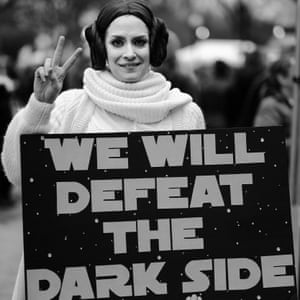 A woman channels the rebellion from Star Wars and dresses as Princess Leia at a rally in Manassas, Va. in January, 2017.