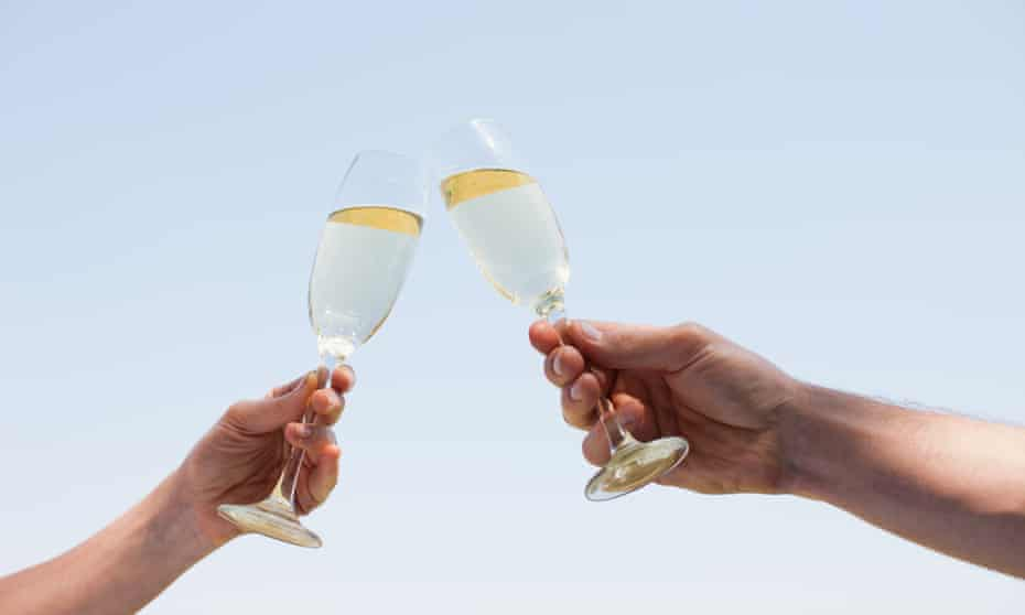 Champagne glasses being toasted