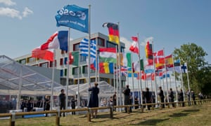 Flags from european countries fly at the European Space Agency's centre at Harwell, Oxfordshire.