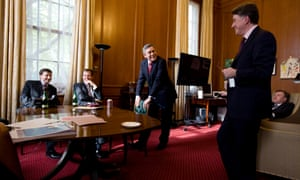 Campbell with Douglas Alexander, Gordon Brown, Peter Mandelson and Ed Balls as Brown prepared to leave government in 2010. Campbell believes that if Labour had 'held together as a team', they would have been in power a lot longer.