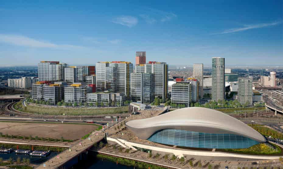 'These commercial slabs will at least block the view of Stratford's tackier towers' … the projected International Quarter, with Zaha Hadid's Aquatics Centre in the foreground.