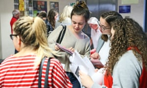 Pupils check their A Level results at Peter Symonds College, Winchester.