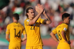 Jackson Irvine performed well for Australia against Palestine.