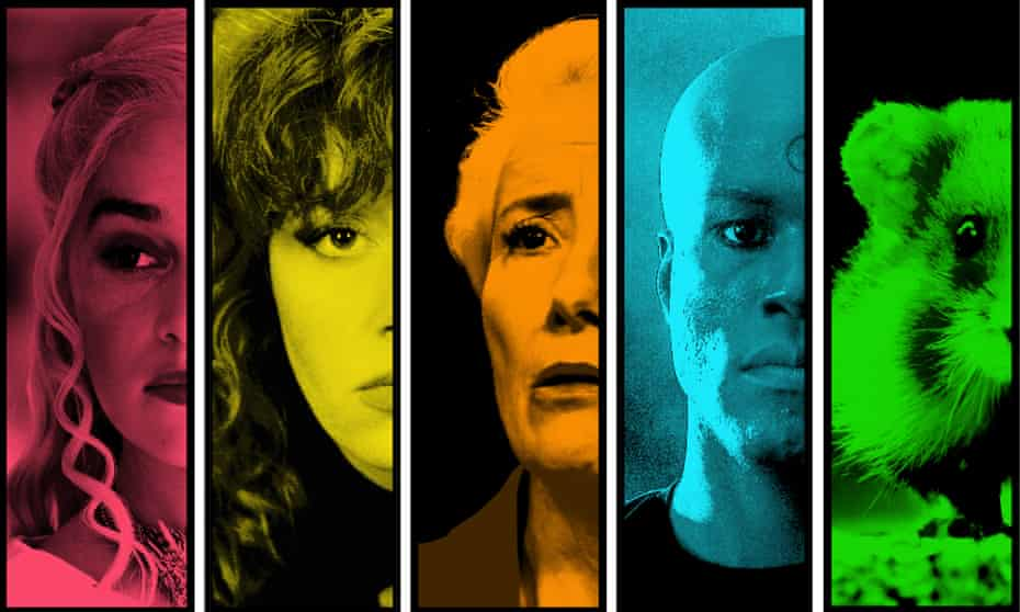 (from left) Emilia Clarke as Daenerys; Natasha Lyonne in Russian Doll; Emma Thompson in Years and Years; Watchmen's Yahya Abdul-Mateen II and the graveyard hamster from Seven Worlds, One Planet.
