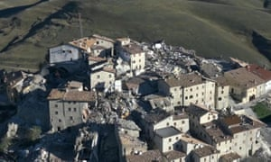 A still image from a video released by the Italian fire department shows the devastated Castelluccio di Norcia in Umbria.