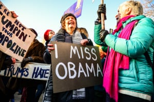 Protesters carry placards saying 'I miss Obama' in Bristol
