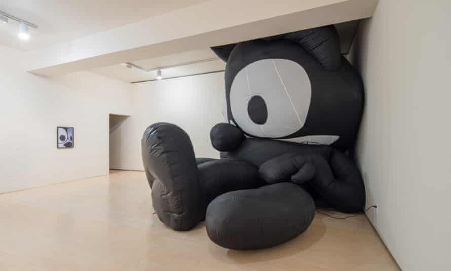 Cheesy quavers: a half-deflated Felix the Cat, the cartoon character who often pops up in Leckey's work