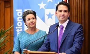 Simon Bridges, the new leader of the National party, and deputy Paula Bennett.