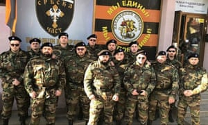 Members of Paramilitary group Serbian Honour pose in Banja Luka.