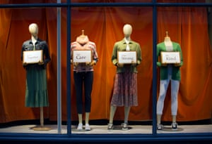 March 2020: the message in the window of a closed clothing store in Stonegate, York, reads: 'Stick together, take care, stay strong, be kind'