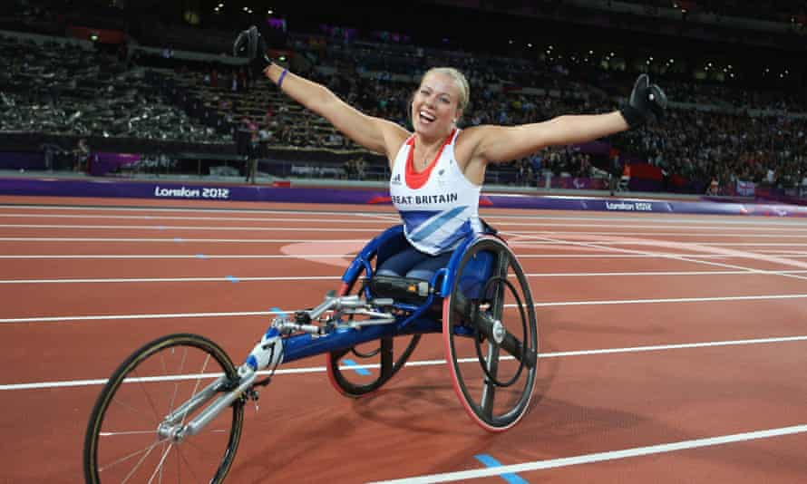 Hannah Cockroft celebrates after winning a race