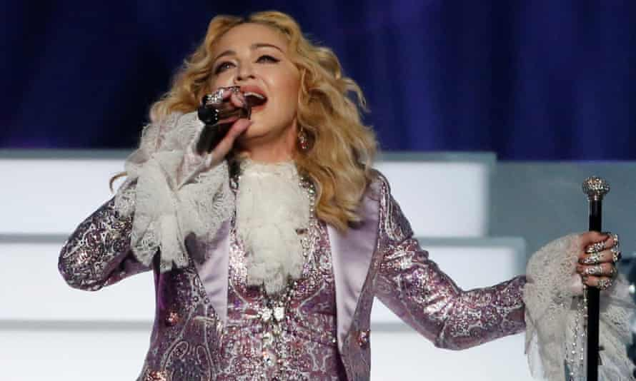 Madonna, performing during her tribute to Prince at the 2016 Billboard Awards.