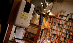 A hand sanitiser at Primrose Hill Books in London.