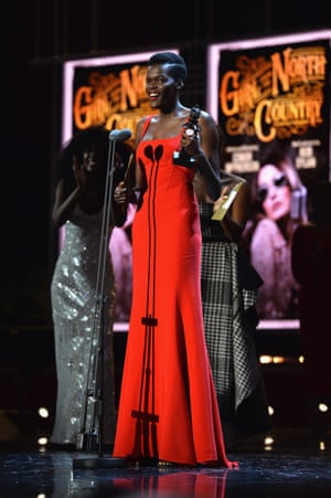 Sheila Atim receives the Olivier award for best actress in a supporting role in a musical, for Girl from the North Country.
