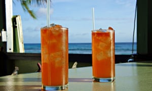 rum cocktails next to a Caribbean sea