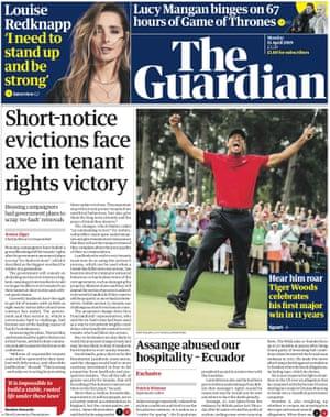 Guardian front page, Monday 15 April 2019