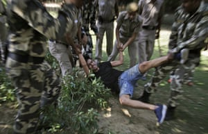New Delhi, India: A protest outside the Chinese Embassy