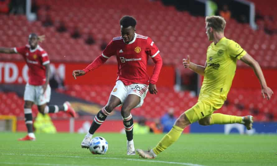 Manchester United's Anthony Elanga runs at the Brentford defence in the club's recent pre-season friendly.
