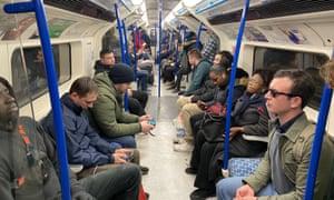 A London tube train on Monday.