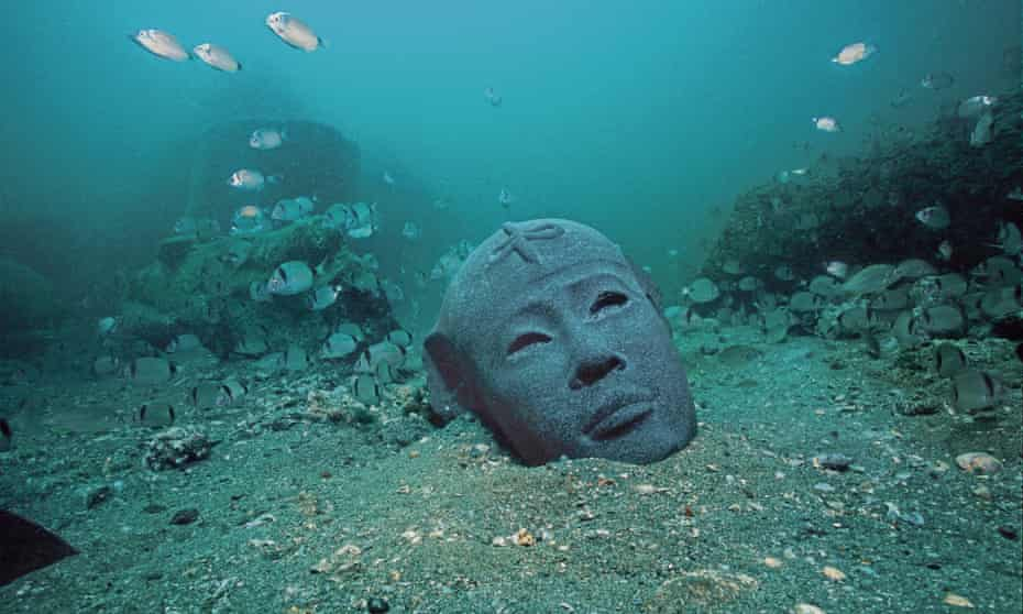 Fish food ... a pharaoh head from the 3rd century BC.