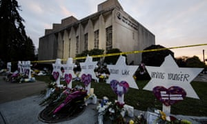 A makeshift memorial stands outside the Tree of Life synagogue in the aftermath of a deadly shooting at the in Pittsburgh.