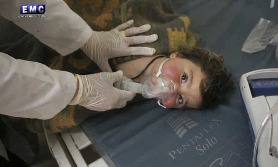 Syrian child being given oxygen