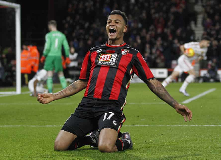 Bournemouth's Joshua King celebrates scoring his team's second goal against Manchester United at the Vitality Stadium.