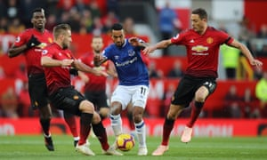 Theo Walcott finds himself outnumbered