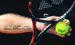 Stan Wawrinka, sporting a quote from Beckett.