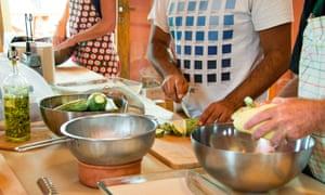 Eumelia course participants preparing vegetables