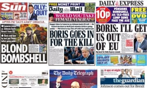 All of Monday's front pages were devoted to Boris Johnson's Brexit decision.