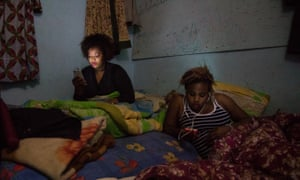 West African migrants Nicole and Stella, holed up at the house known as Guantanamo, outside Algiers
