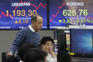 The foreign exchange dealing room of the KEB Hana Bank headquarters in Seoul today