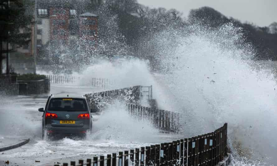 Waves break over a coastal road in Skelmorlie, Scotland, during Storm Gertrude. Coastal areas are about to be hit again.