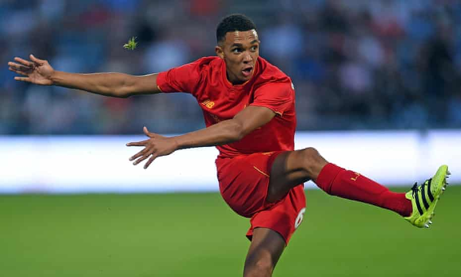 Trent Alexander-Arnold pictured playing for Liverpool in a friendly against Huddersfield as a 17-year-old.