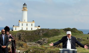 Donald Trump in Scotland to re-open golf courseepaselect epa05387762 US Republican presidential hopeful Donald Trump (R) gives a speech at the Trump Turnberry Golf Course, Scotland, Britain, 24 June 2016. Trump arrived to re-open his Golf Course at the Trump Turnberry, a Luxury Collection Resort in Scotland. EPA/NIGEL RODDIS
